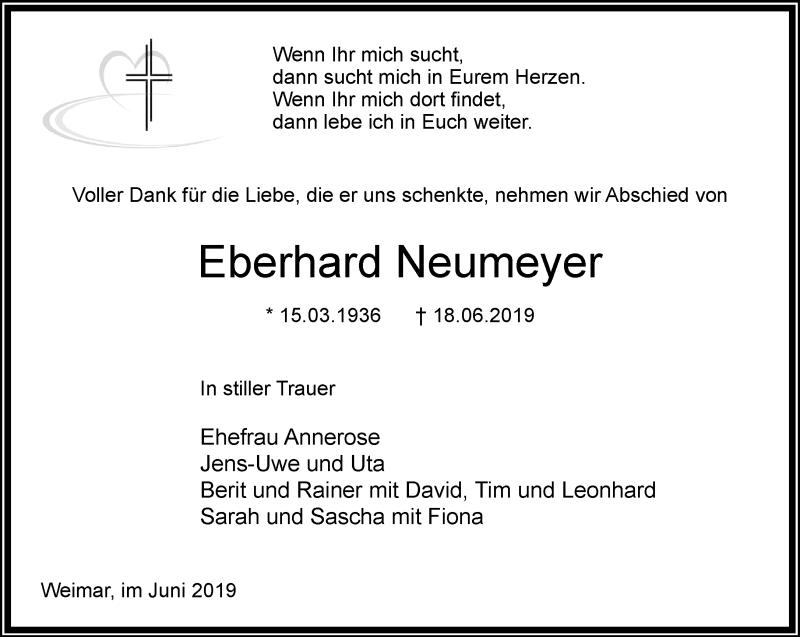 Anzeige von  Eberhard Neumeyer