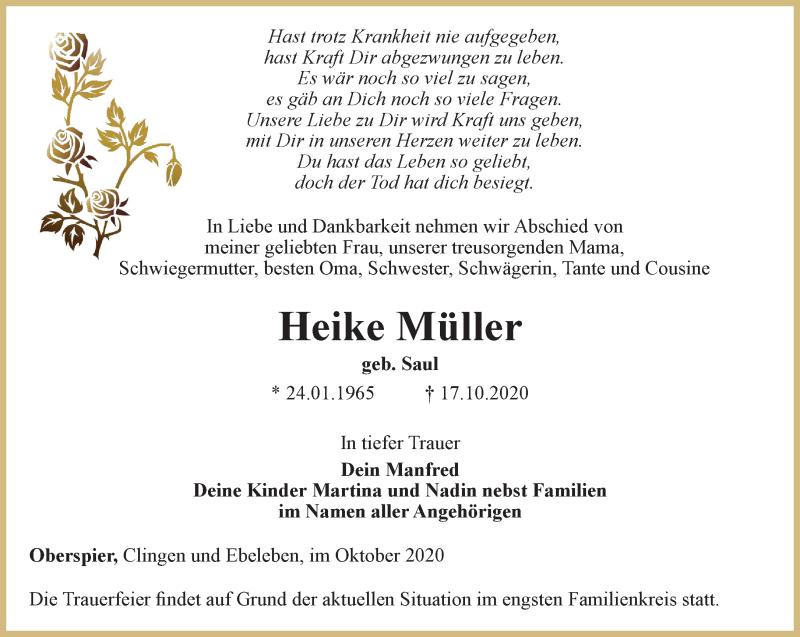 Traueranzeigen Von Heike Muller Trauer In Thueringen De