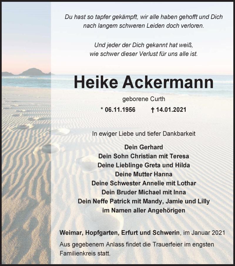 Traueranzeigen Von Heike Ackermann Trauer In Thueringen De